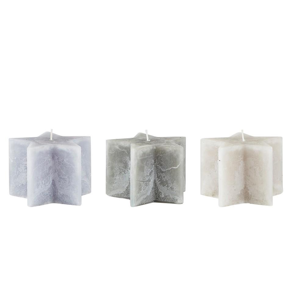 Sada 3 sivých sviečok KJ Collection Stars, ⌀ 10 x 7 cm