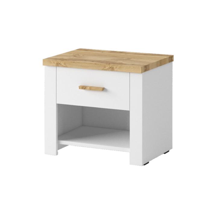 TEMPO KONDELA Nočný stolík (2ks), biela/dub wotan, ANICEA