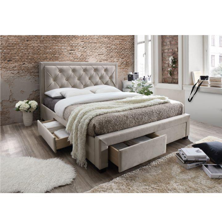 Manželská posteľ s roštom, látka sivohnedá, OREA