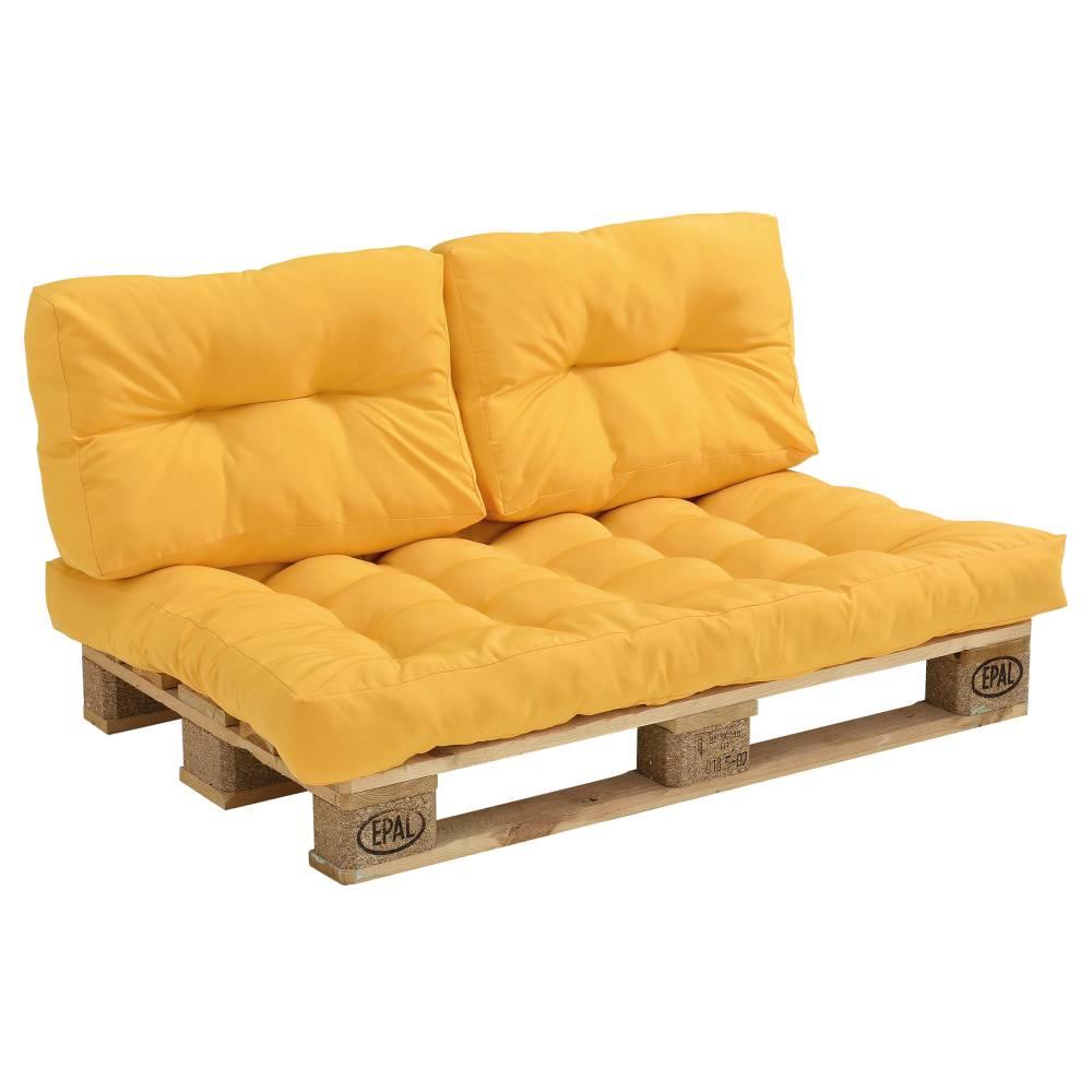 [en.casa]® Paletový nábytok - vankúšová sada - horčicovo žltá