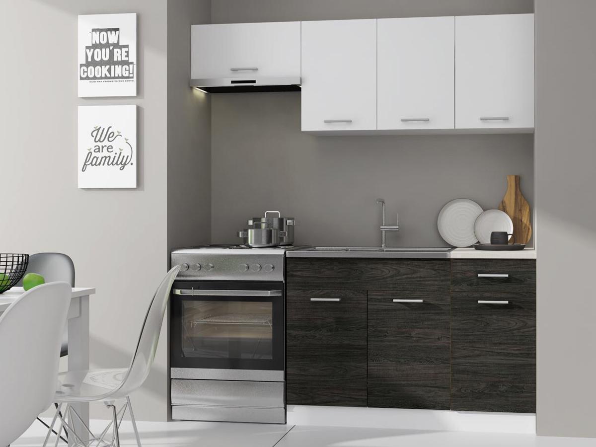 Kuchyňa Mona 180 cm biela + dolce dub carbone