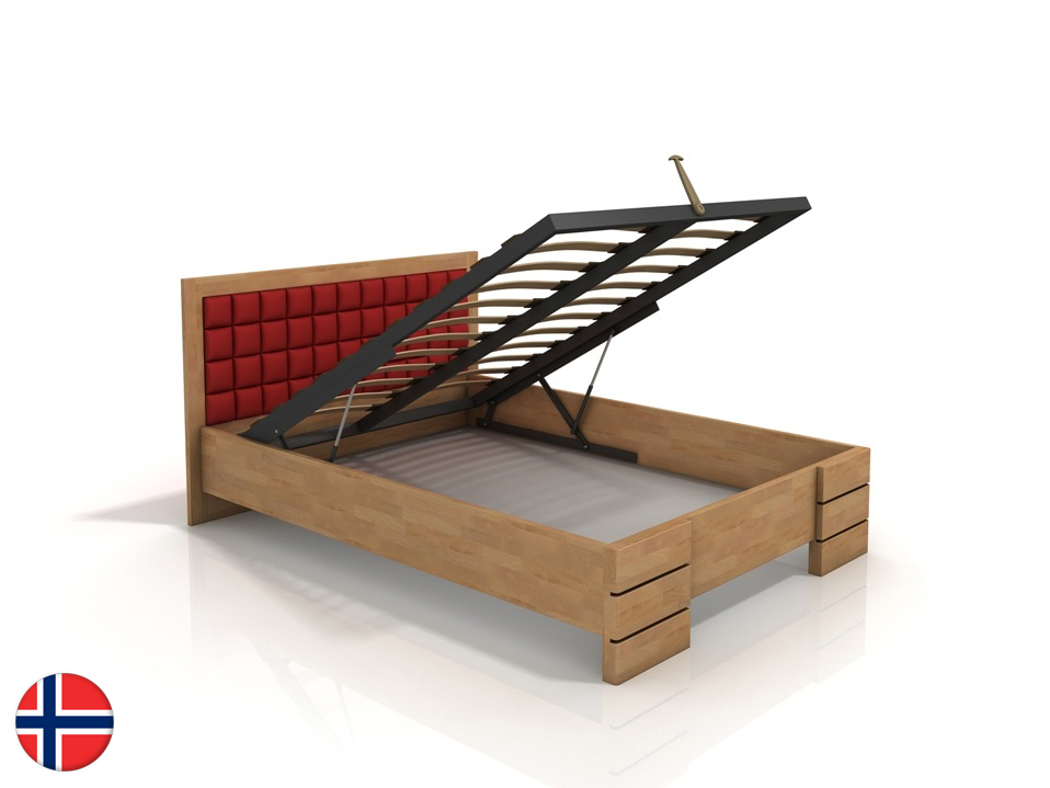 Manželská posteľ 180 cm Naturlig Storhamar High BC (buk) (s roštom)