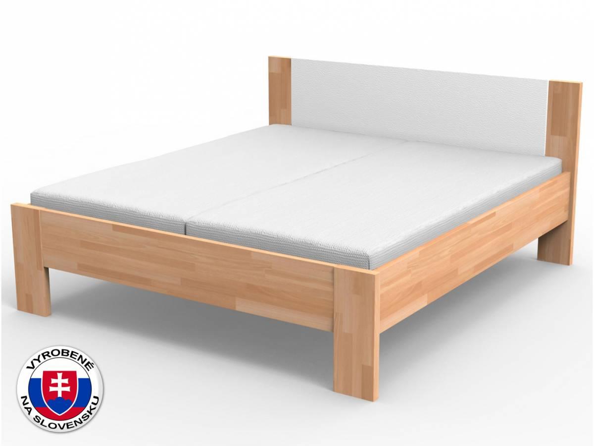 Manželská posteľ 140 cm Nikoleta čalúnené čelo (masív)