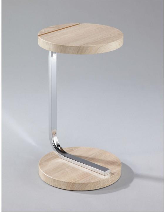 Príručný stolík so zárezom na tablet, MDF+chróm, dub sonoma, MILANA