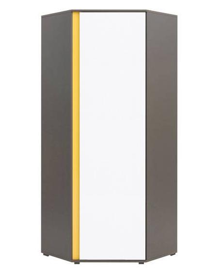Rohová šatníková skriňa Graphic SZFN1D   Farba: sivý wolfram / biely lesk