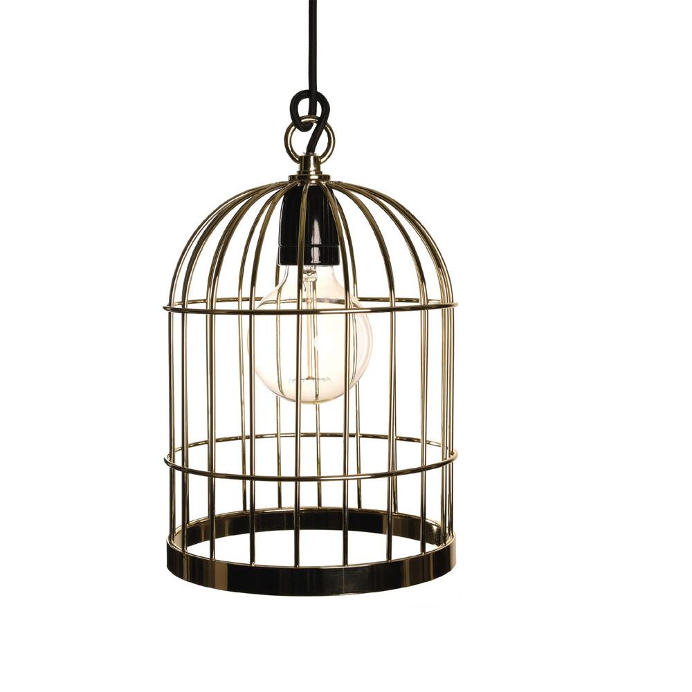Zlaté závesné svetlo Filament Style Bird Cage