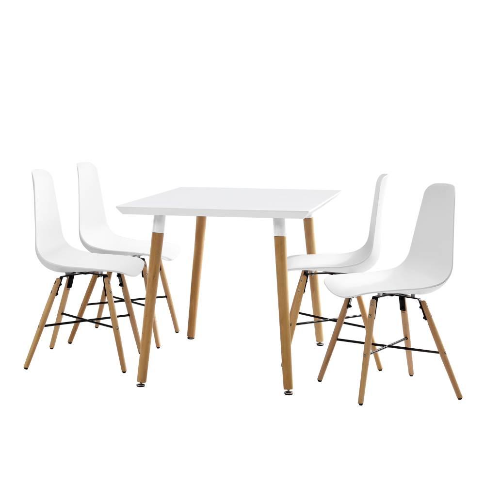 [en.casa]® Dizajnová jedálenská zostava - stôl so 4 stoličkami - biela