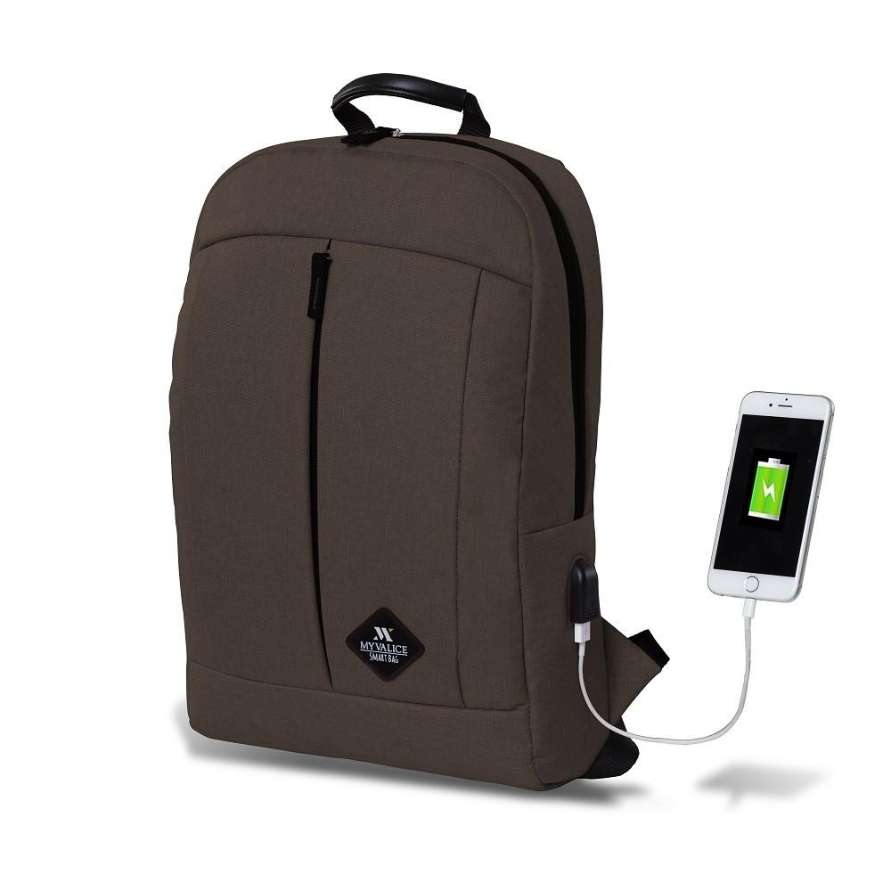 Tmavohnedý batoh s USB portom My Valice GALAXY Smart Bag