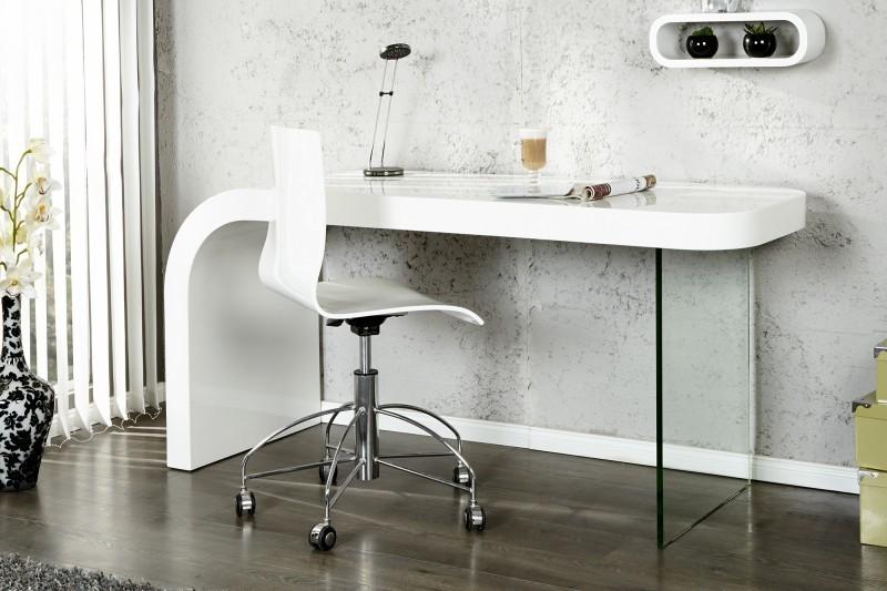 Pisací stôl ONYX vo vysokom lesku - biela