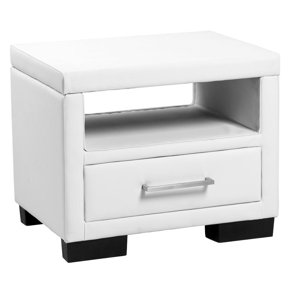 [neu.holz] Nočný stolík - 55 x 40 x 45 cm - biely