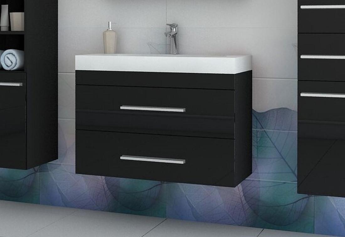 Kúpeľňová skrinka pod umývadlo KOLI, 80x50x40 cm, čierna/čierny lesk