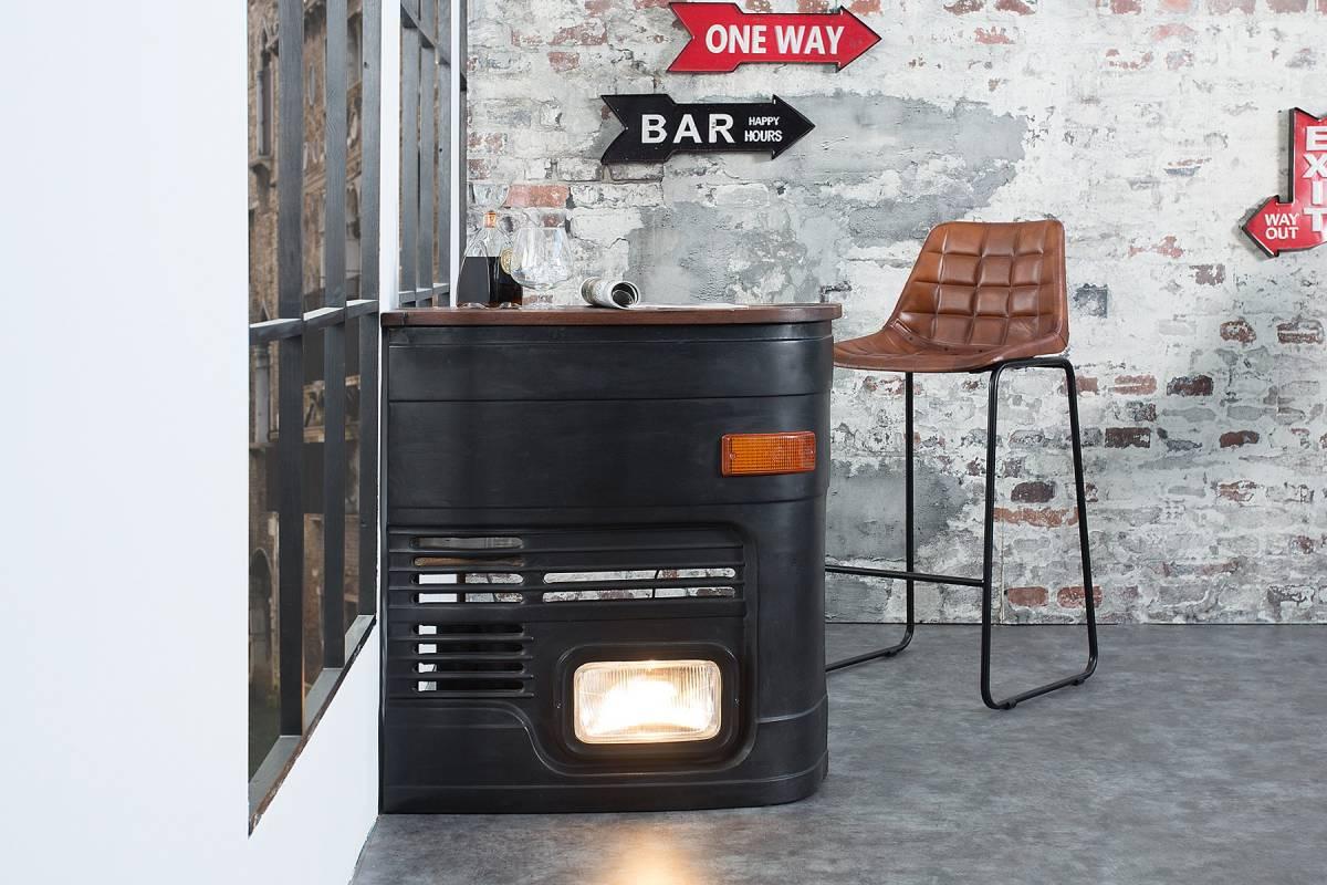 Bighome - Barový stolík CAR 81 cm orientované vpravo - viacfarebná, čierna