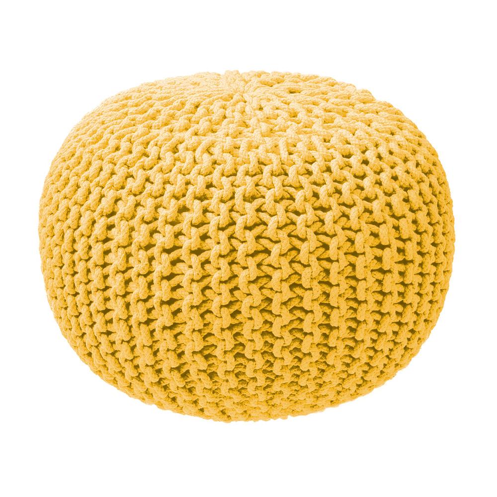 Horčicový pletený puf ZicZac