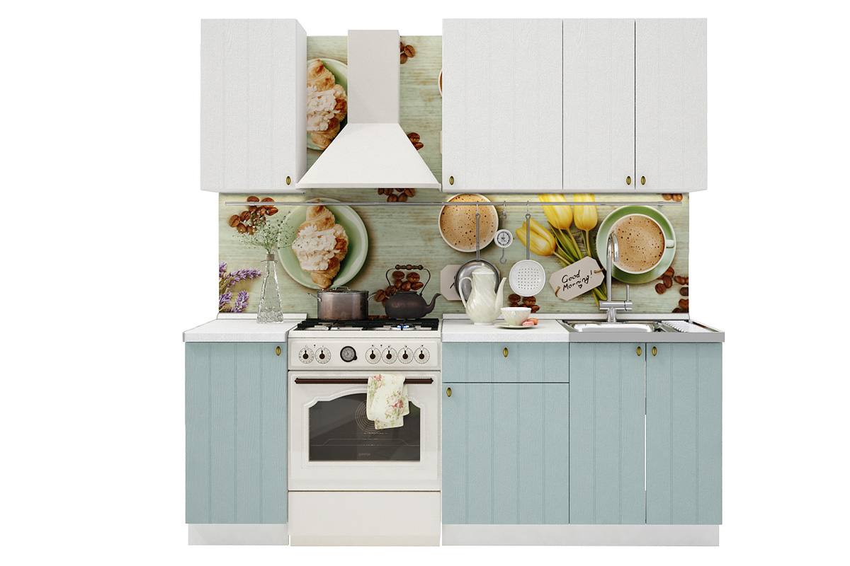 PROVENSAL 150 kuchynská zostava biele drevo/morská modrá