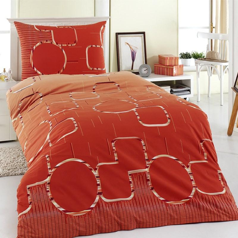 Night in Colours Bavlnené obliečky Myra oranžová, 140 x 200 cm, 70 x 90 cm