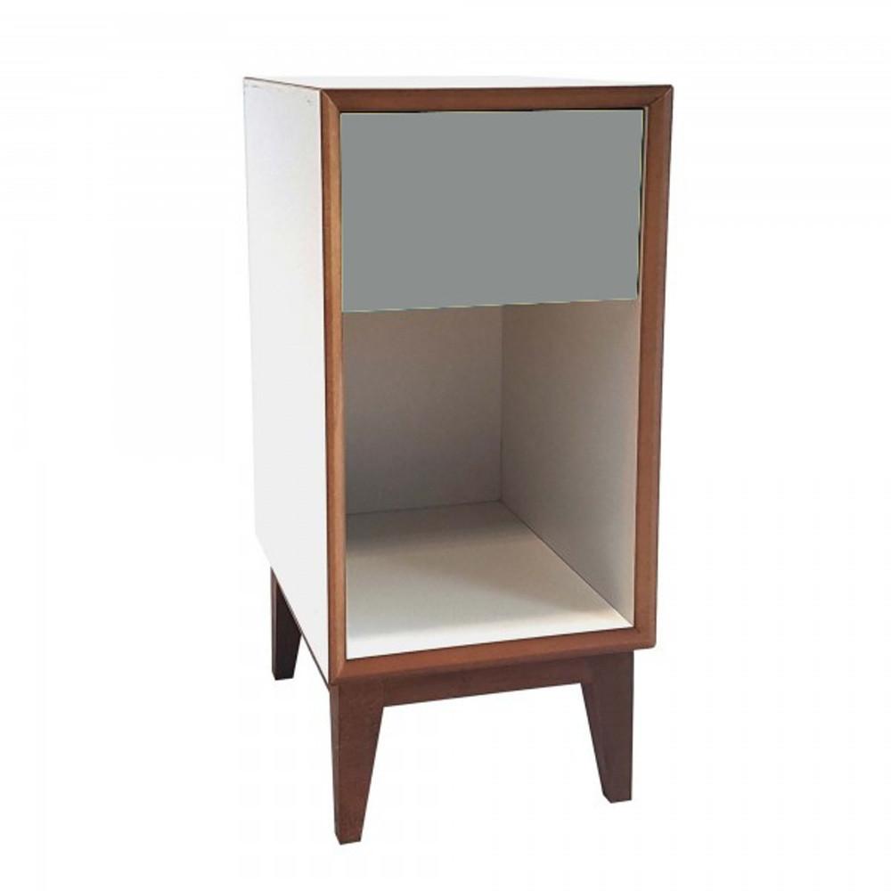 Malý nočný stolík s bielym rámoma tmavosivou zásuvkou Ragaba PIX