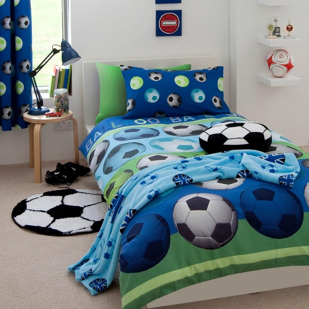 Detské modré obliečky Catherine Lansfield Football, 135 x 200 cm