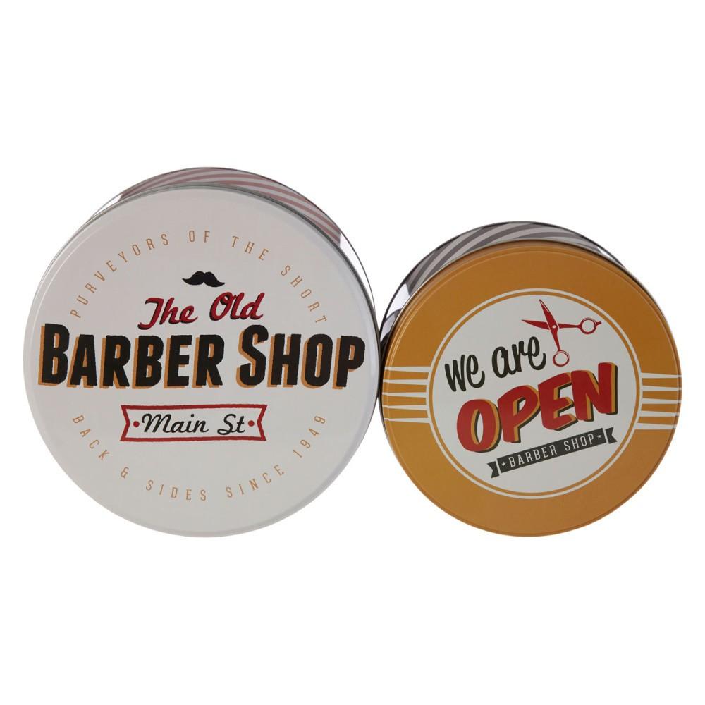 Sada 2 cínových úložných boxov Premier Housewares Barber Shop