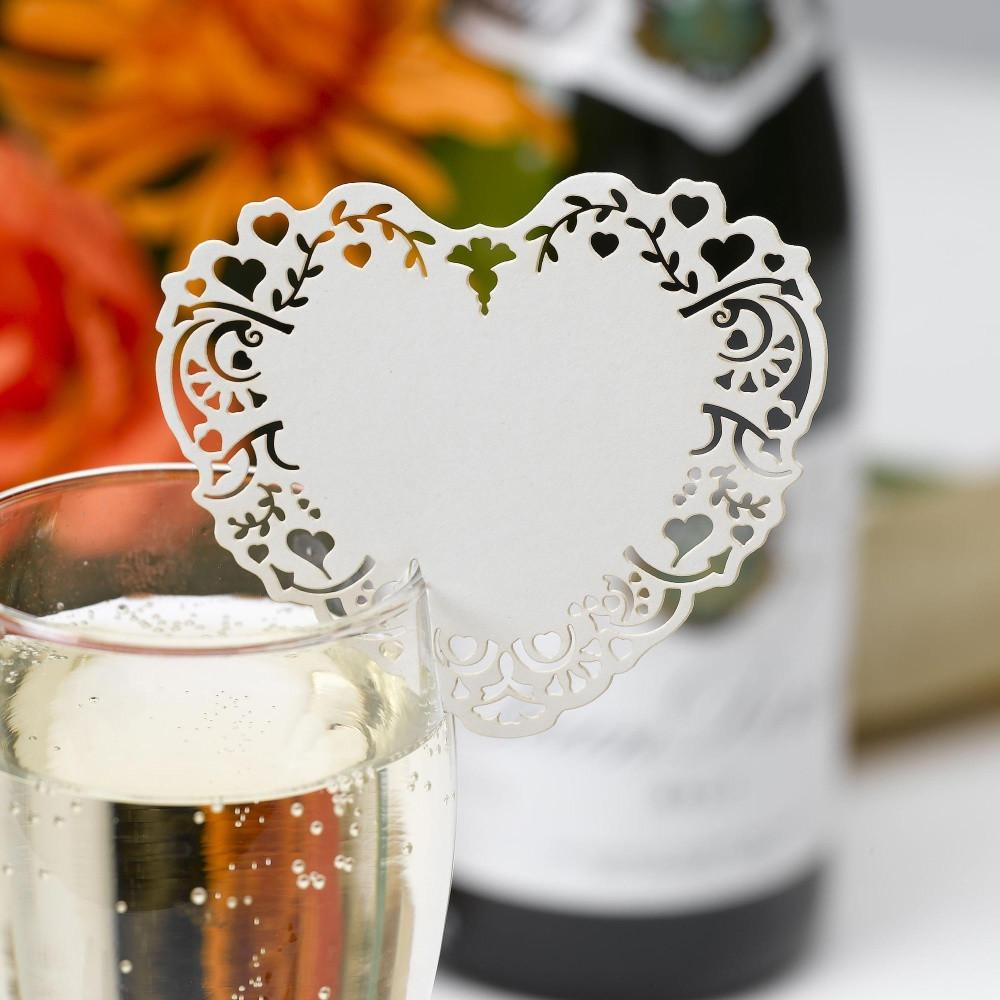 Sada 10 krémových menoviek na pohár Neviti Vintage Romance