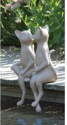 Set 2 záhradných sošiek CATS - sivá