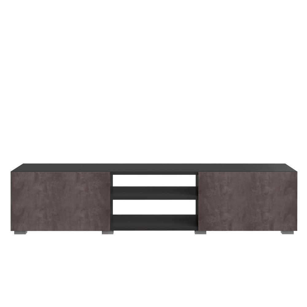 Čierny TV stolík s doskou v dekore betóne Symbiosis Podium