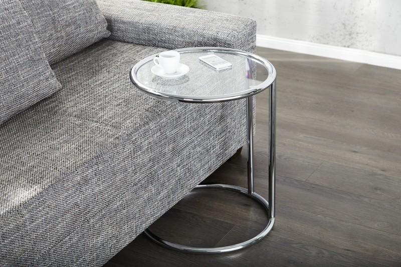 Servírovací stolík ART DECO - strieborná/číra