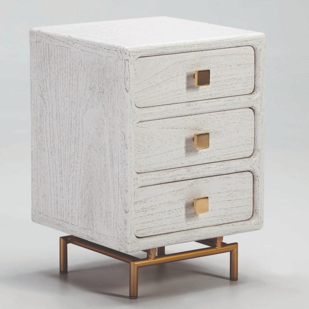 Biely nočný stolík s tromi zásuvkami Thai Natura