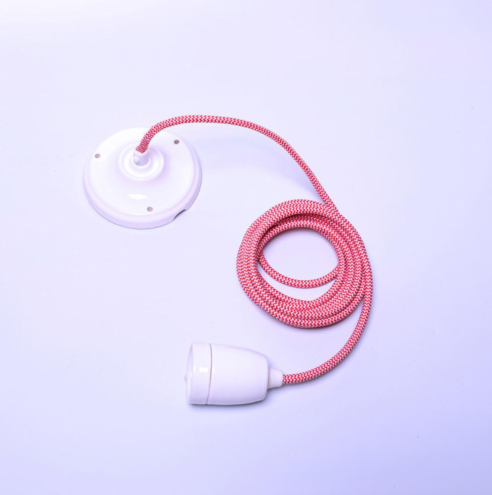 Ružový kábel na stropné svetlo s bielou objímkou Filament Style Diamond