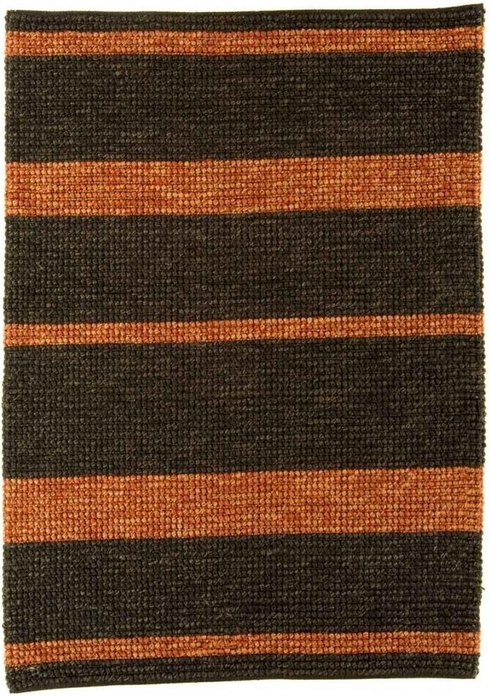 Jute Loop koberec - tmavošedá/červená pásikovaná