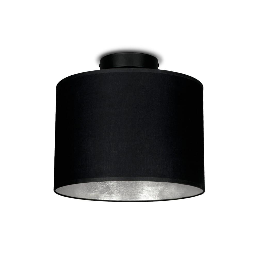 Čierne stropné svietidlo s detailom v striebornej farbe Sotto Luce MIKA, Ø25 cm