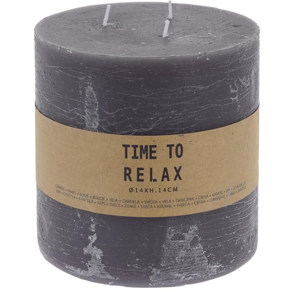 Dekoratívna sviečka Time to relax sivá, 14 cm
