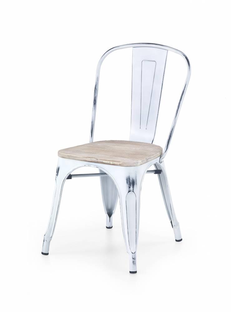 Jedálenská stolička K204 (biela + kov)
