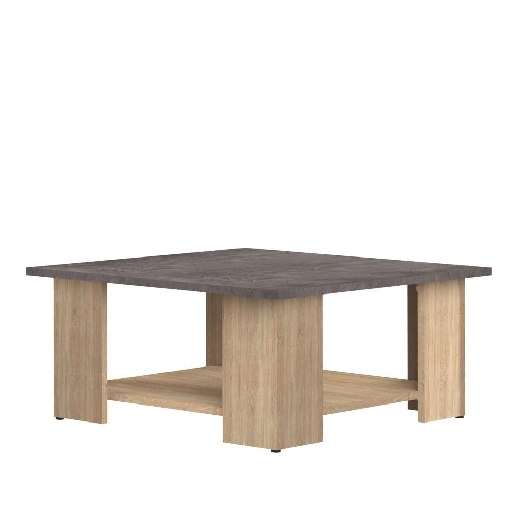 Konferenčný stolík v dekore duba s doskou v dekore betónu Symbiosis Square, 67 x 67 cm