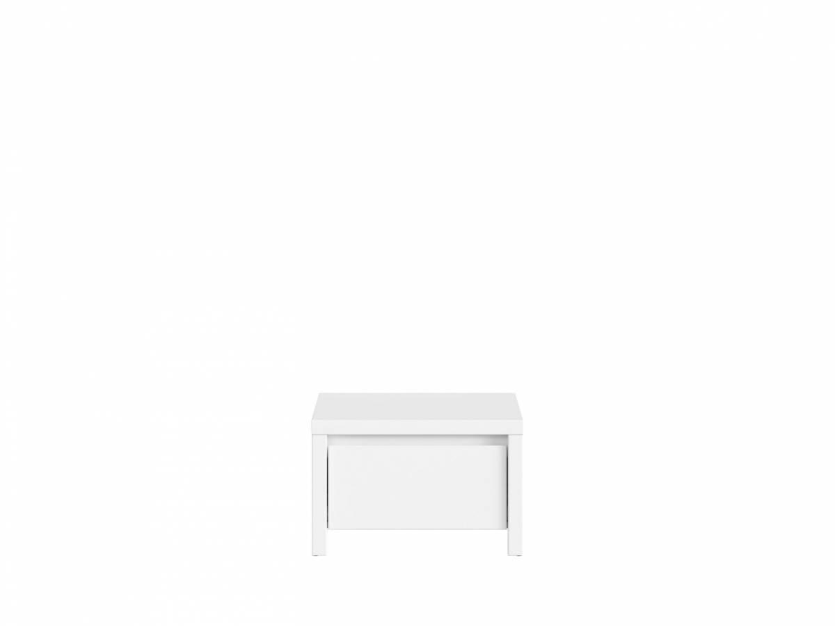 Nočný stolík Kaspian KOM1S (biela + biela matná)