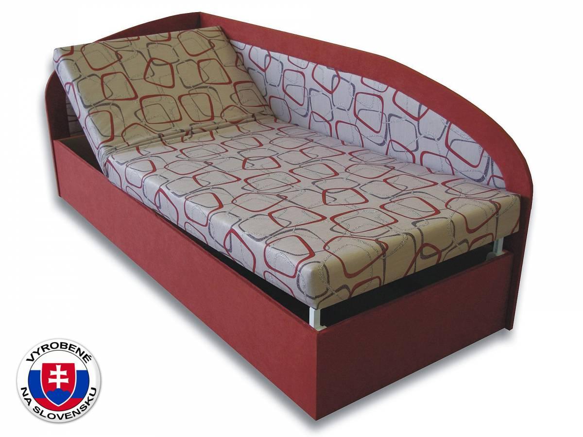Jednolôžková posteľ (váľanda) 90 cm Kamila (Tehlová 41 + Dodo 1008) (L)