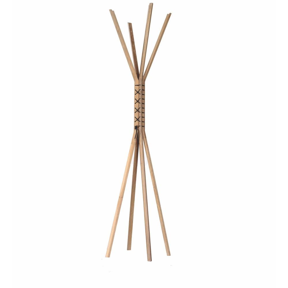 Stojacie vešiak z orechového dreva s koženými prvkami Wewood - Portugues Joinery Cancan