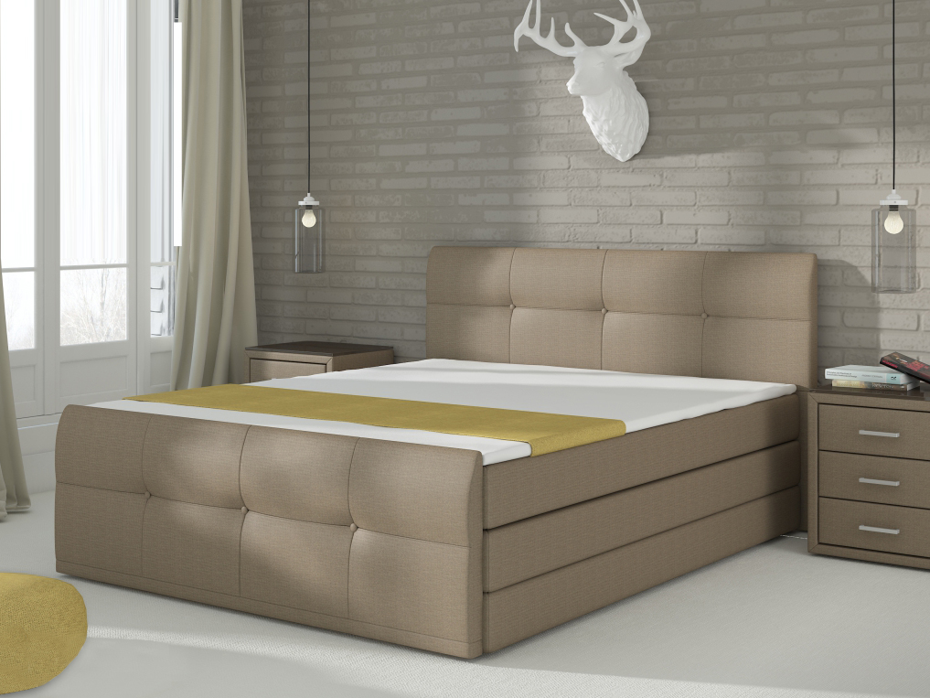 Manželská posteľ Boxspring 160 cm Palermo (s matracom a úl. priestorom)