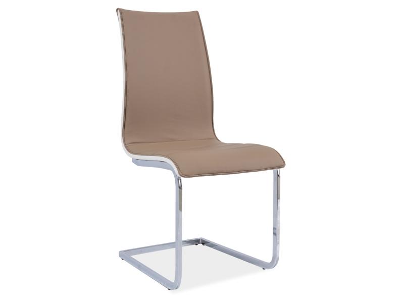 Jedálenská stolička H-133 (ekokoža tmavobéžová + biela)