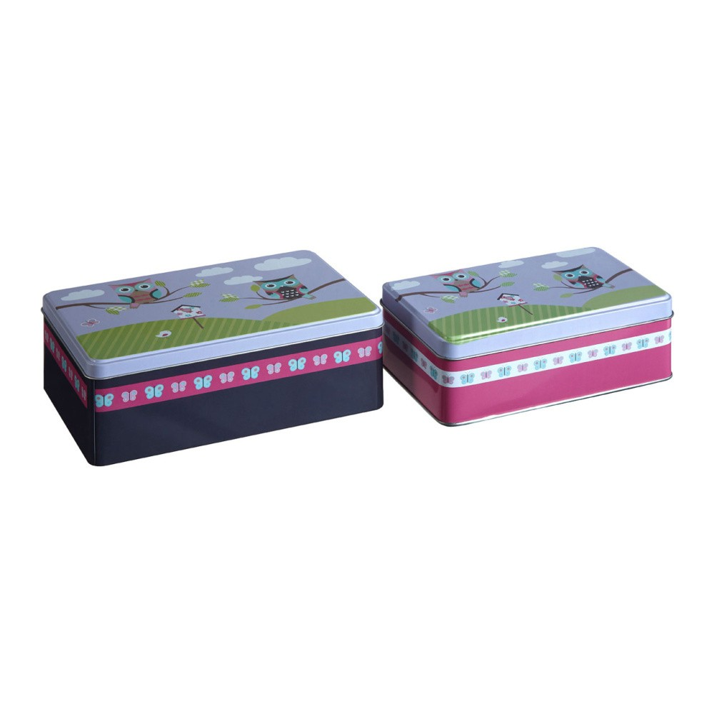Sada 2 cínových úložných boxov Premier Housewares Happy Owls, 13×20 cm