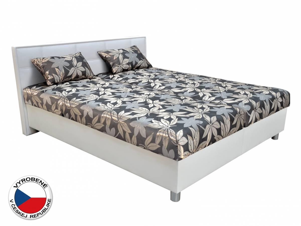 Manželská posteľ 160 cm Blanár Belfast (sivá + biela) (s roštami a matracmi)