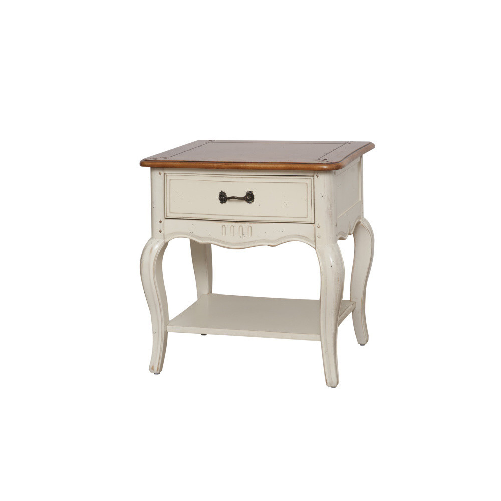 Krémový nočný stolík z brezového dreva Livin Hill Verona