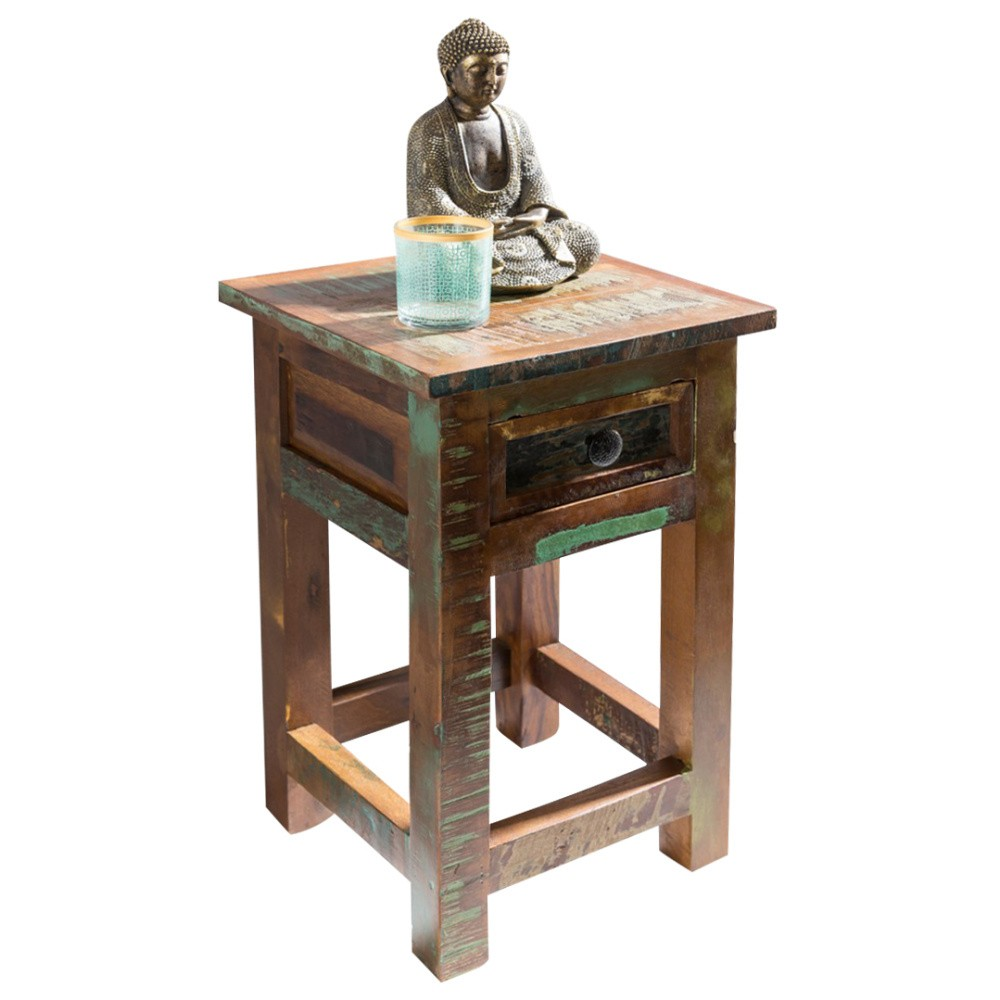 Nočný stolík so zásuvkou z recyklovaného mangového dreva Skyport DELHI, výška 50 cm