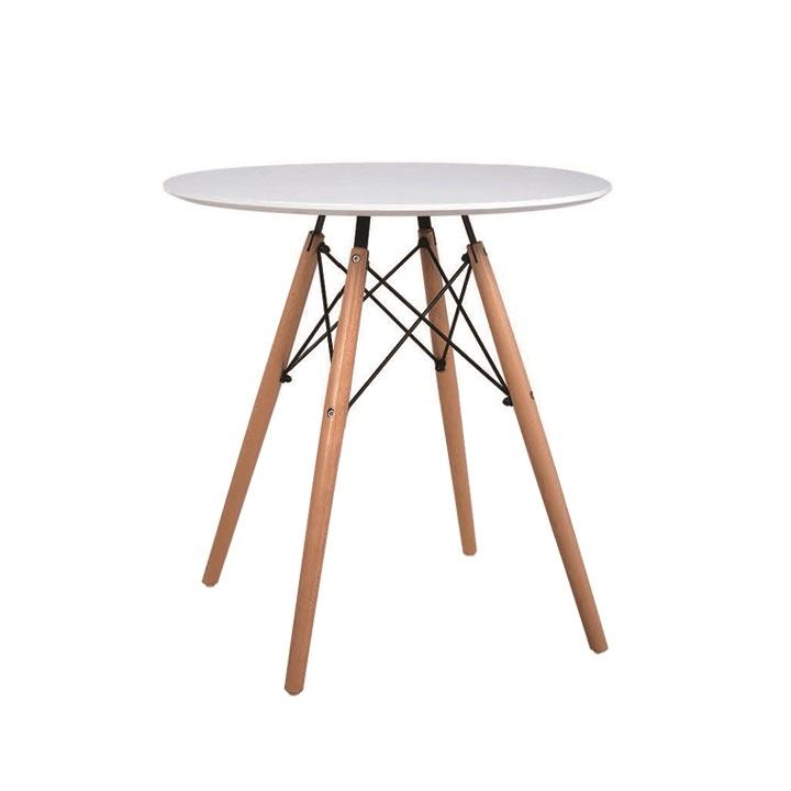 TEMPO KONDELA Jedálenský stôl,  biela/buk, GAMIN NEW 60
