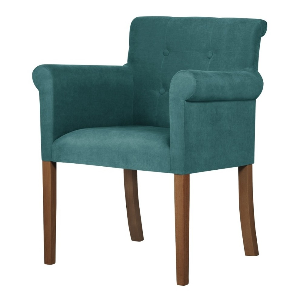 Tyrkysová stolička s tmavohnedými nohami Ted Lapidus Maison Flacon