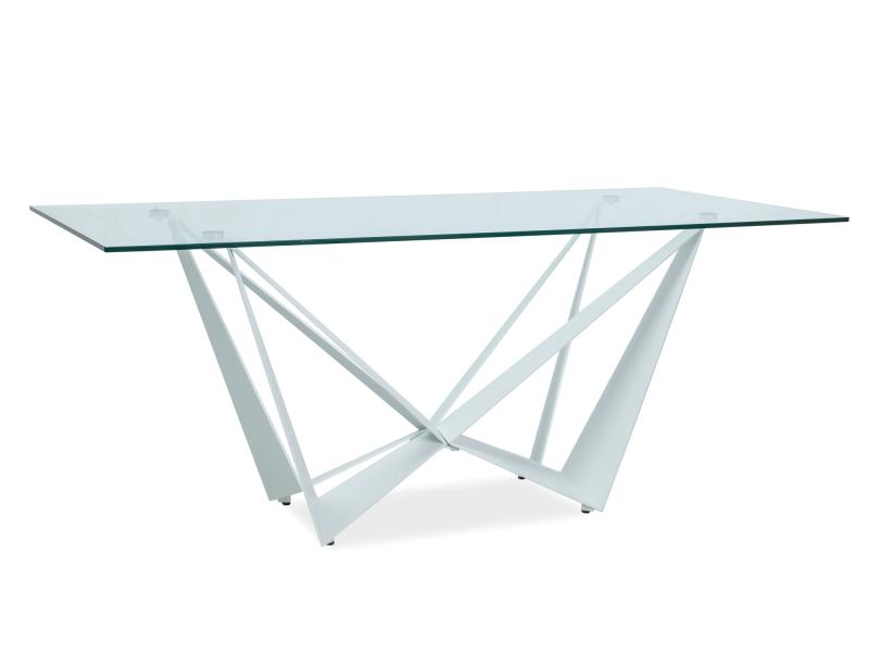 ASTANA jedálenský stôl, číre sklo/biely mat