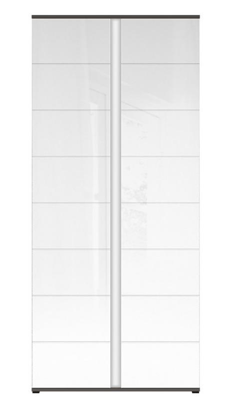 Šatníková skriňa Graphic REG2D/86/C   Farba: sivý wolfram / biely lesk
