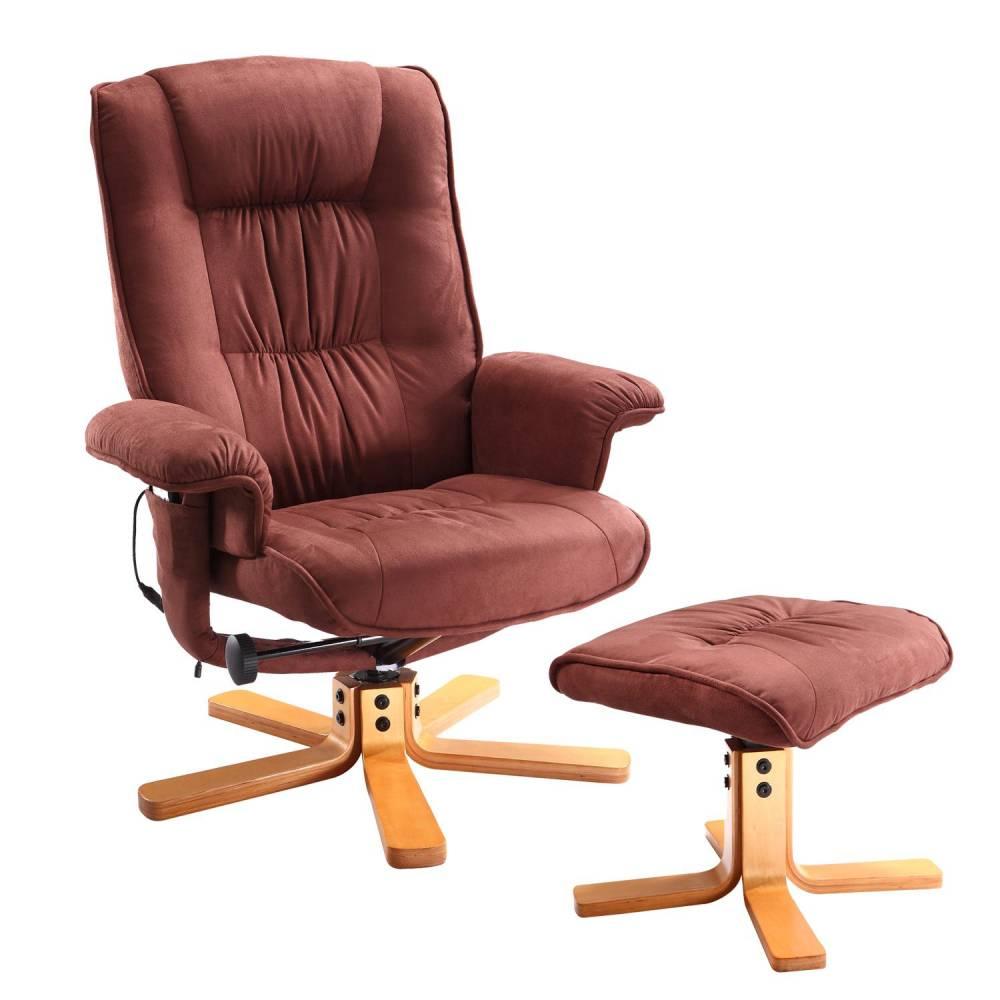 Relaxačné masážne kreslo s podnožkou hnedé