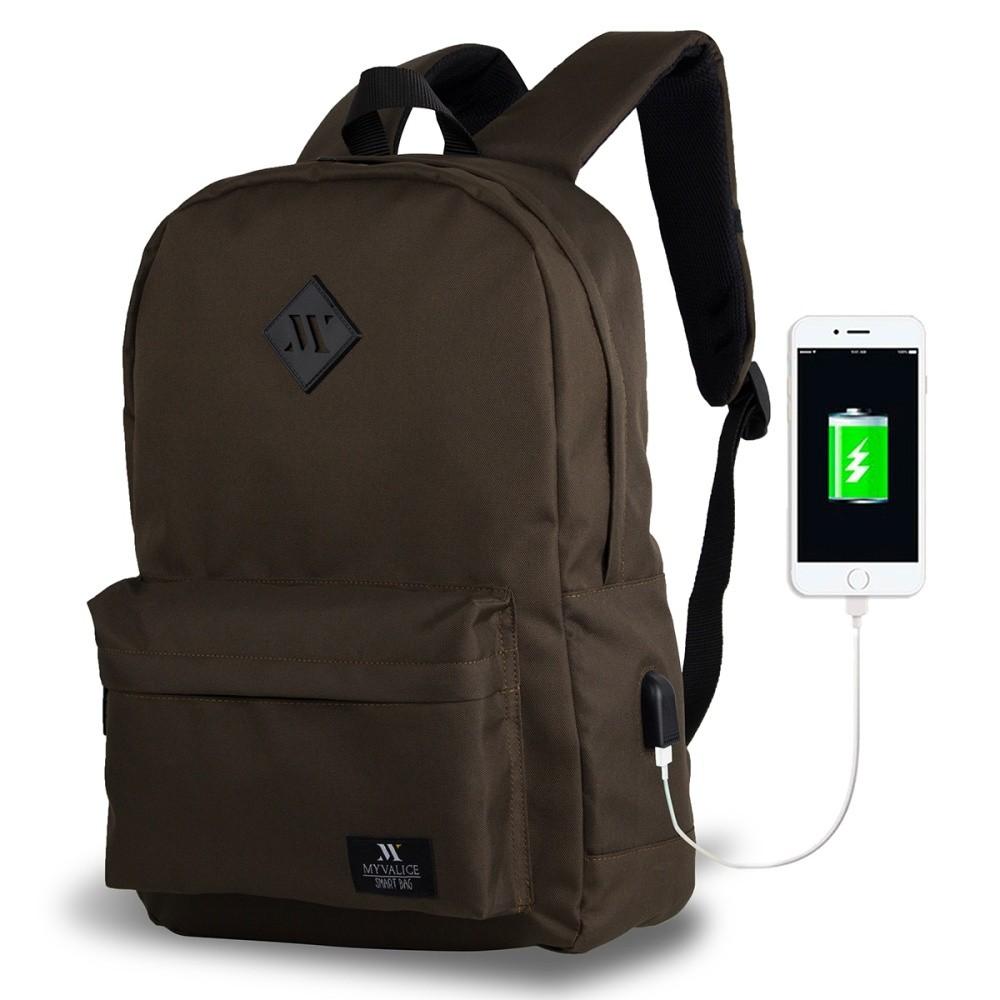 Tmavohnedý batoh s USB portom My Valice SPECTA Smart Bag