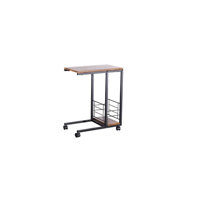 TEMPO KONDELA Príručný stolík na kolieskach, orech/čierna, CARMEL