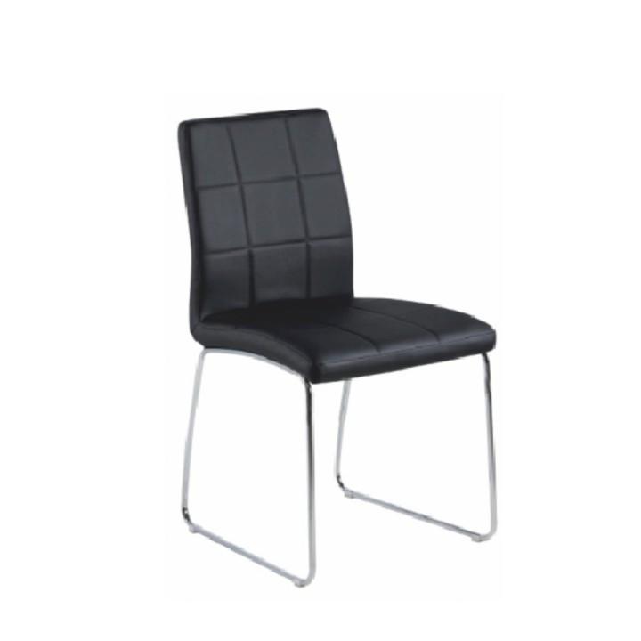 Stolička, čierna ekokoža + chrom nohy, SIDA